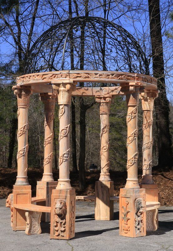 Carved marble gazebo with wrought iron : Lot 110
