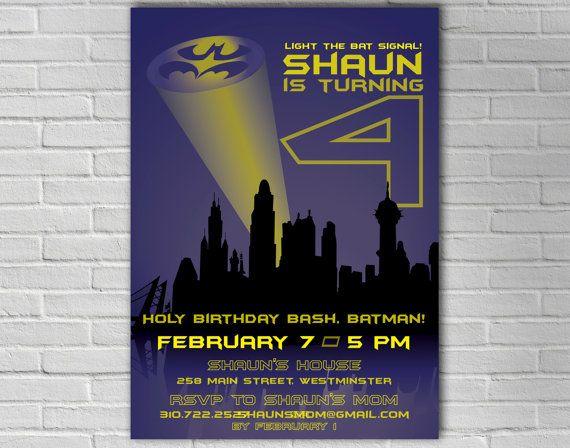PRINTABLE Batman and Robin Childrens Birthday Invitation