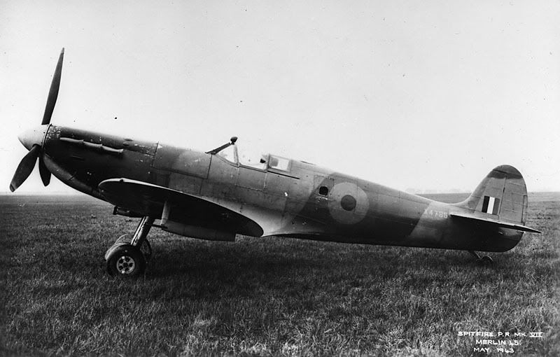 pitfire PRVII or PR Type G, one of the two types of photographic reconnaissance Spitfires that retained their guns