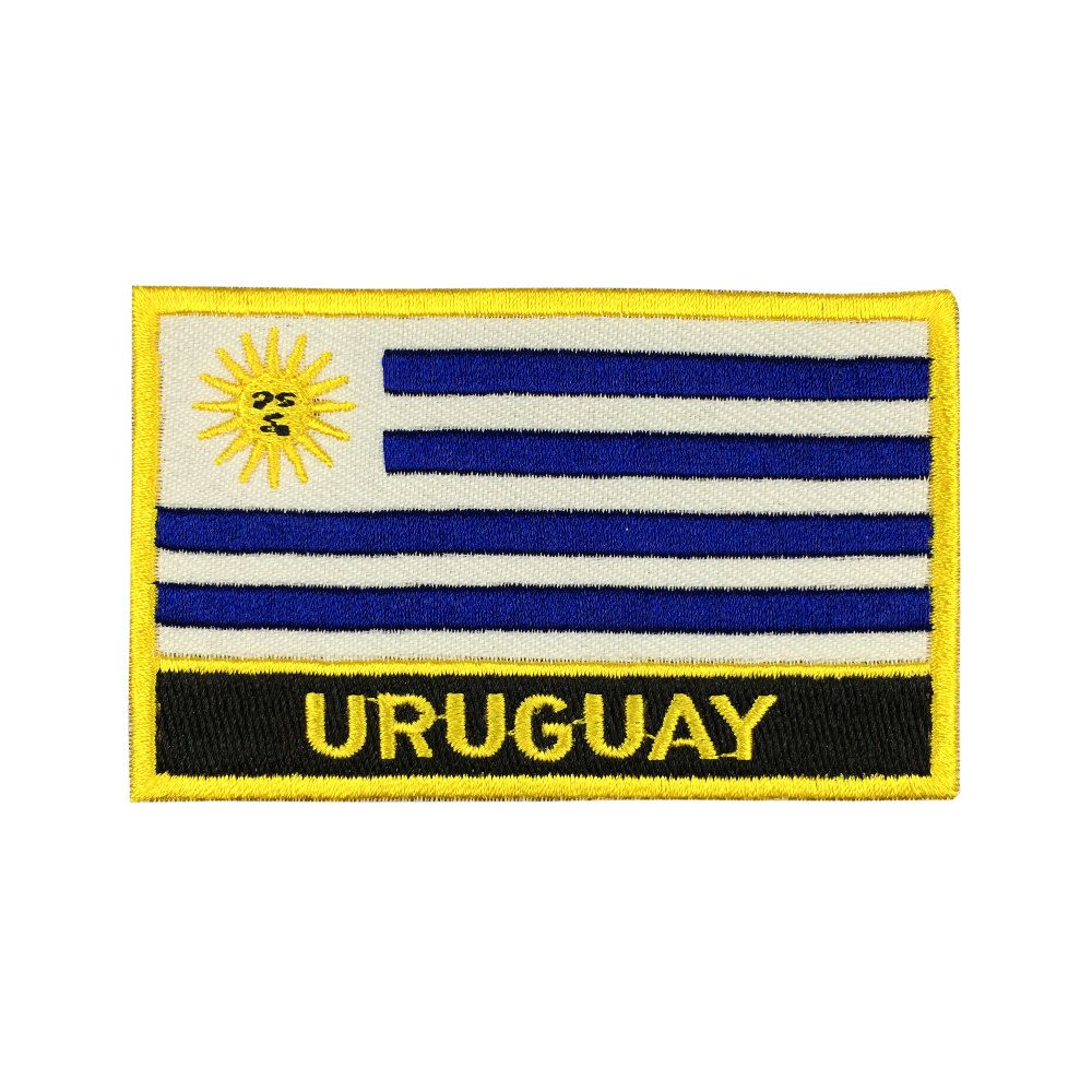 Uruguay Flag Patch Embroidered Patch Gold Border Iron On patch Sew on Patch Bag Patch meet you on www.Fleckenworld.com
