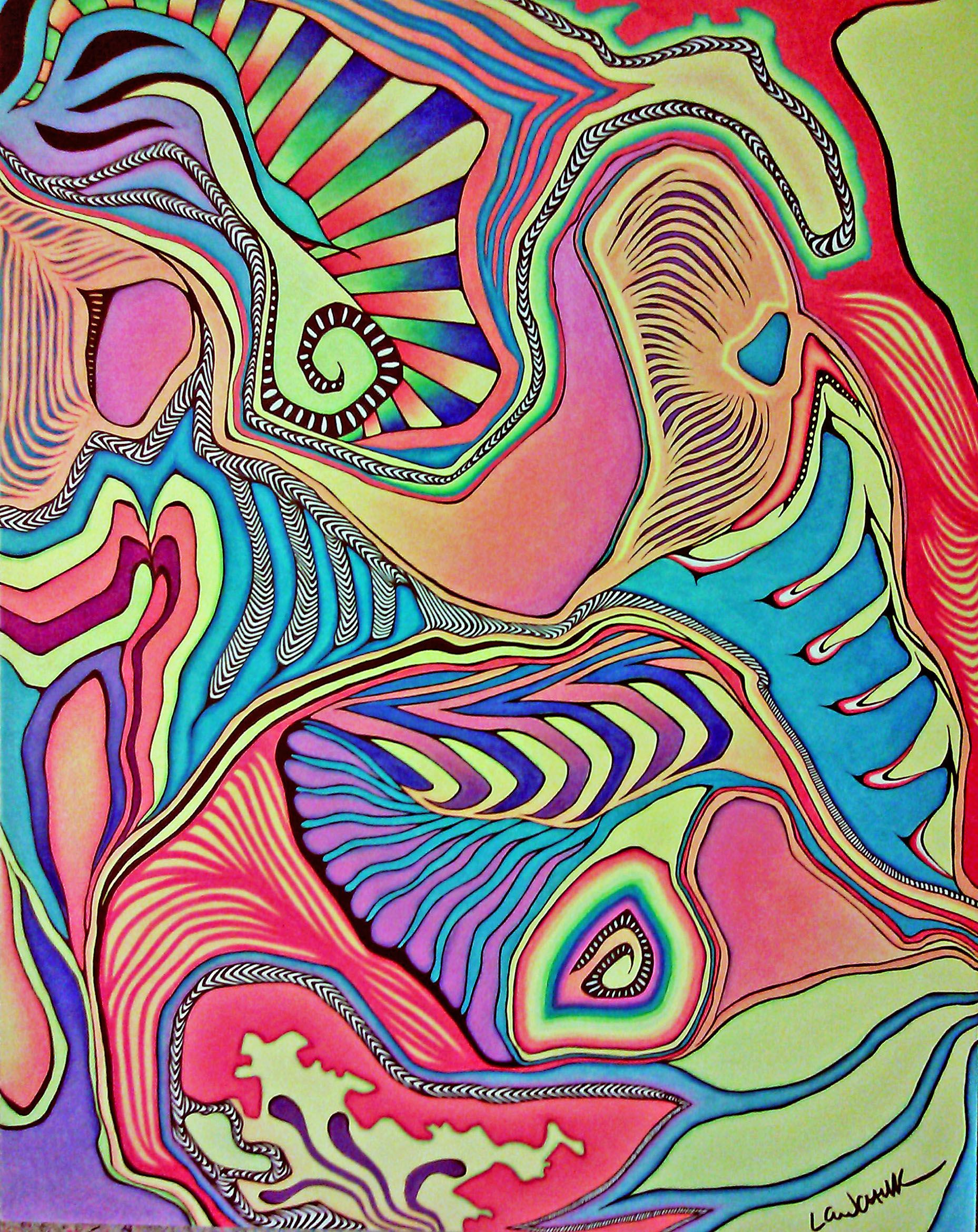 Art colored pencils - Colored Pencil And Marker Abstract Drawing Lauren Lewchuk