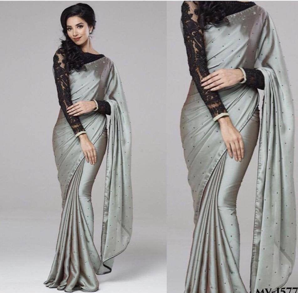 Designer Bollywood Plain Silk Saree Party Wear New Gold Lace Border Saree  PT