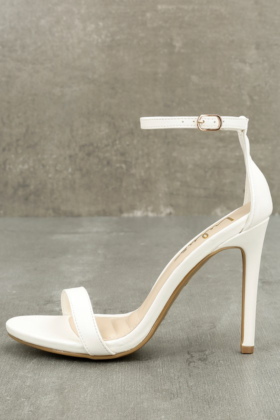 Loveliness White Ankle Strap Heels