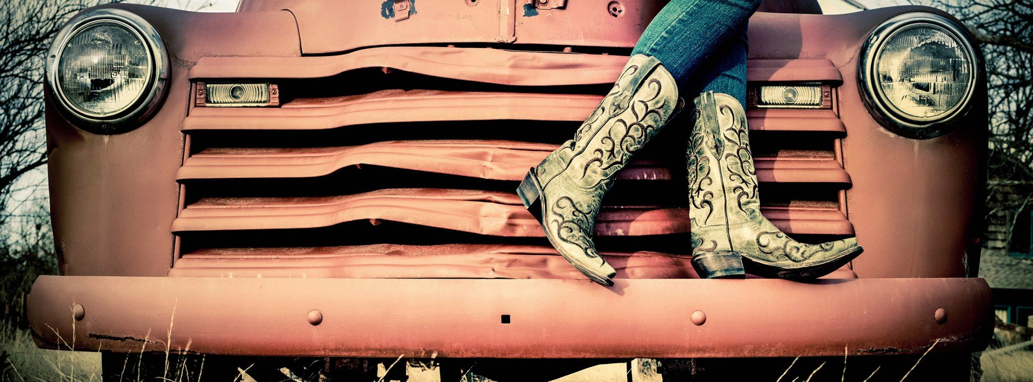 dress - Boots cowgirl on a truck photography video