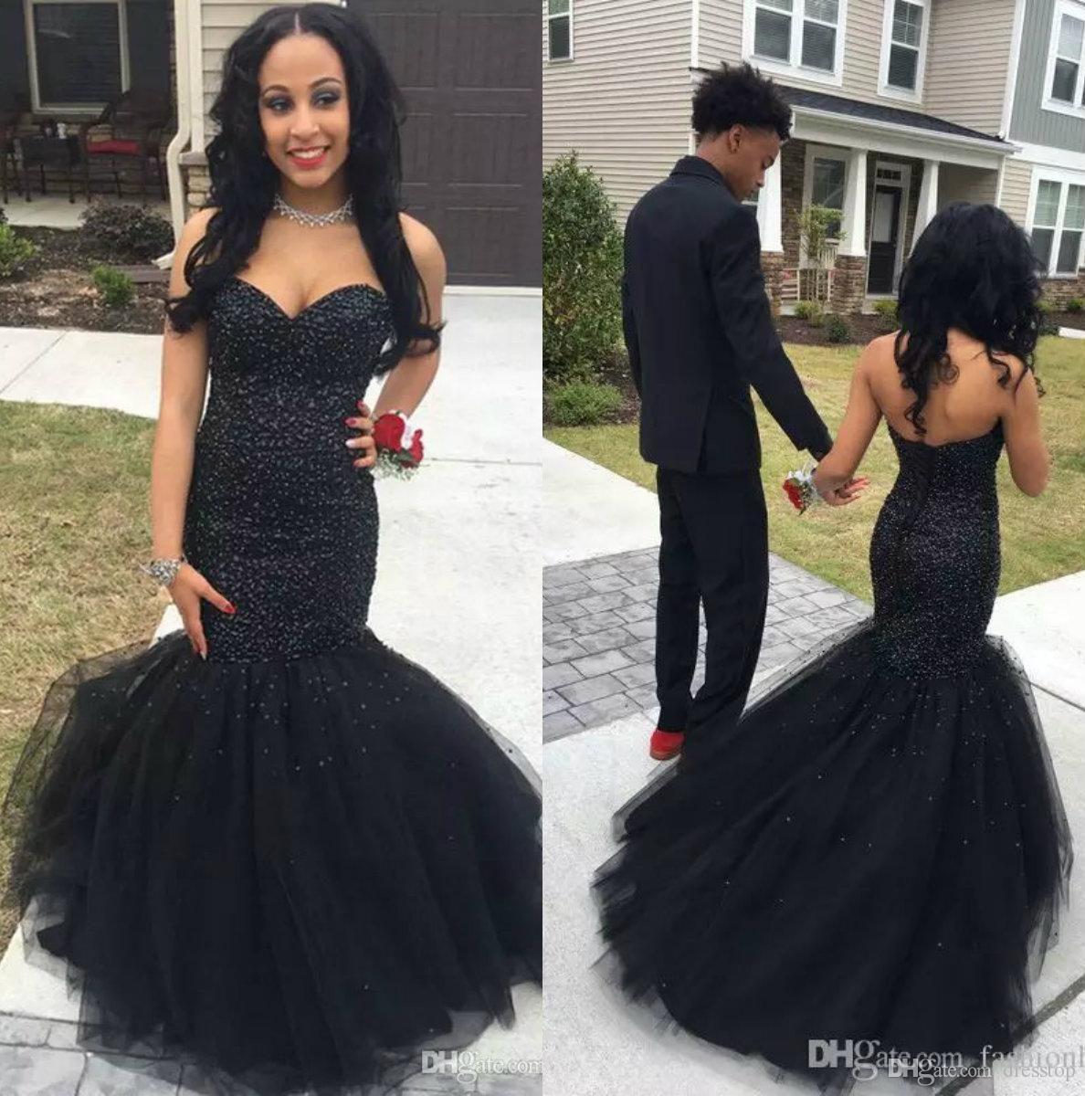 2018 Black Girl African Mermaid Prom Dresses Long Major Beading Formal  Dress Evening Wear Plus Size ec35b7ac0544