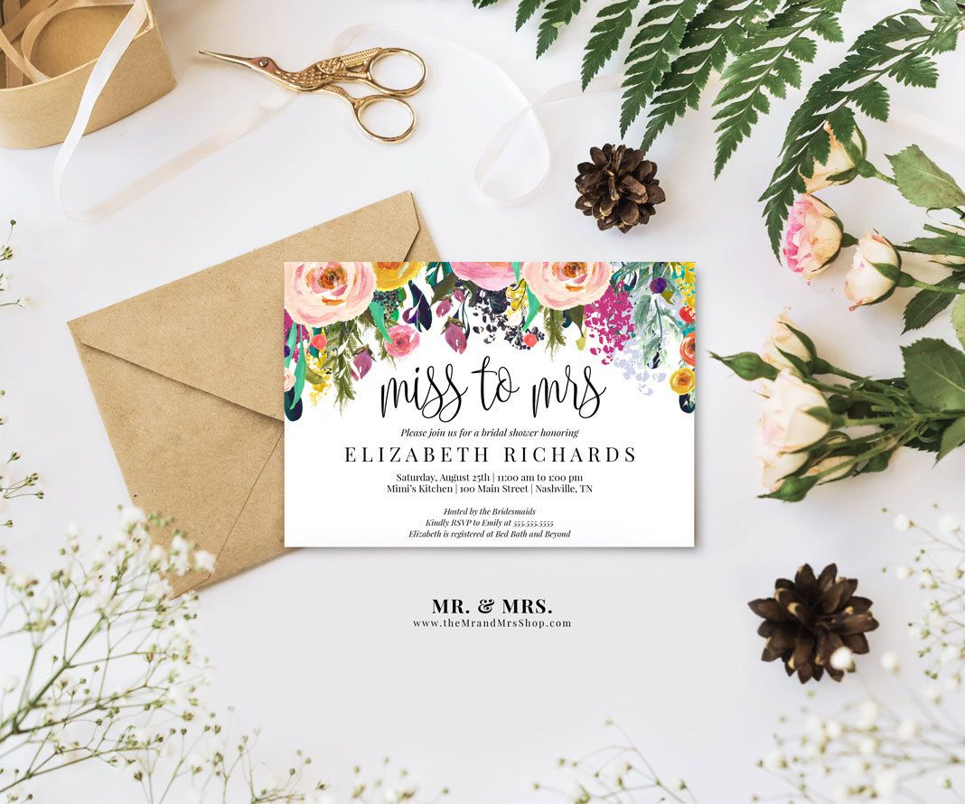 Bridal Shower Template Editable Watercolor Floral Miss To Mrs Bridal Shower Invitation .
