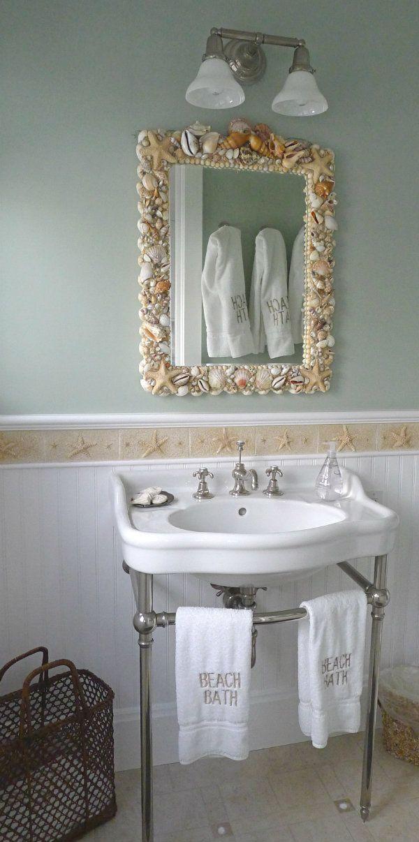 Seashell Bathroom Mirror Beachhouse Coastalliving Beach Living - Beach house bathroom mirrors