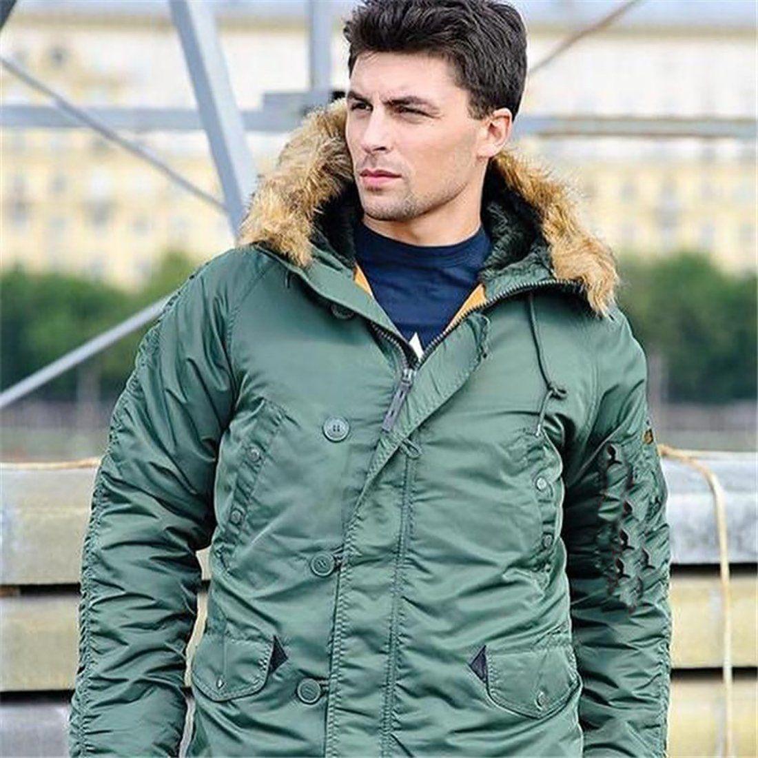 Men's Coat Puffer Long Military Fur Hood Warm Trench