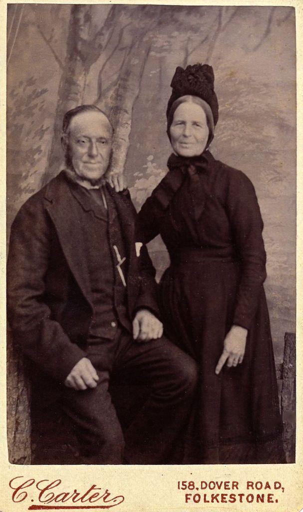 Folkestone Couple in Mourning, English Albumen Carte de Visite, Circa 1885