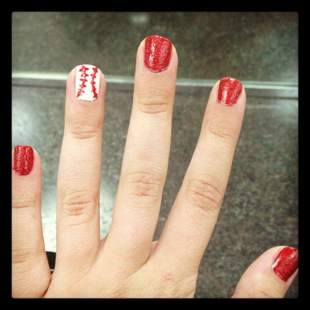 LOVE!!!!!!!!!!!!!!  Baseball theme nails  Easy peasy!  Just use any red polish, white polish & a red nail art polish!