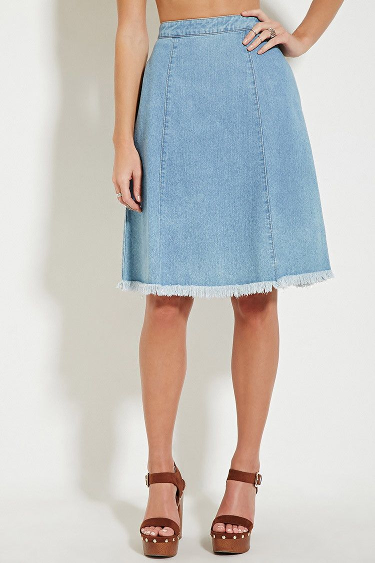 Frayed-Hem Denim Skirt | Forever 21 - 2000180112 | Clothes ...