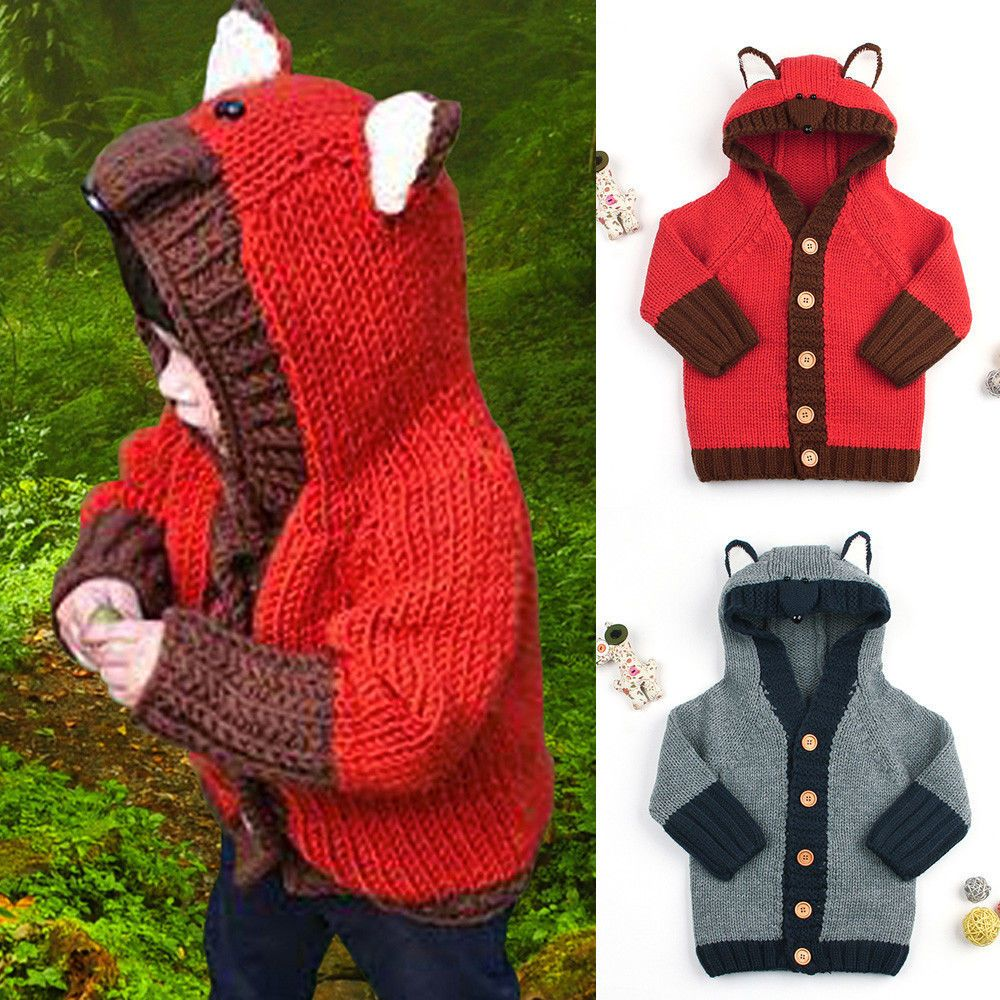 51bb6f7b4c85 Lively Toddler Baby Boys Girls Sweater Hooded Fox Knitted Tops Warm ...