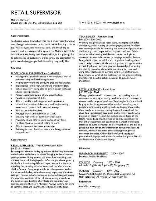 demonstrate your team leading and supervisory skills with a fantastic cv layout like this one - Supervisor Resume Templates