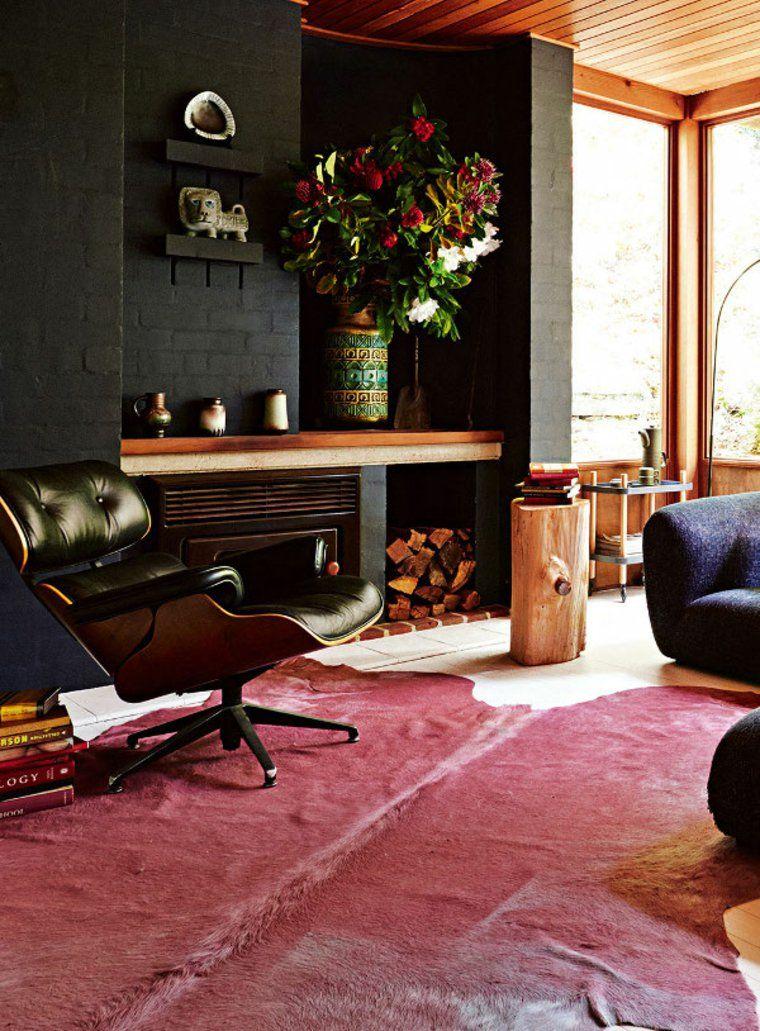 Idee De Salon Avec Mur En Briques Noires Et Cheminee Vintage Deco