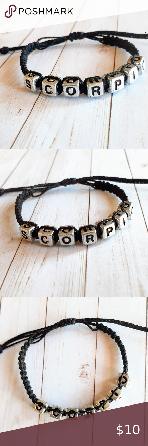 2/$15 Scorpio Bracelet Handmade Scorpio bracelet made with black waxed cording and silver letter…