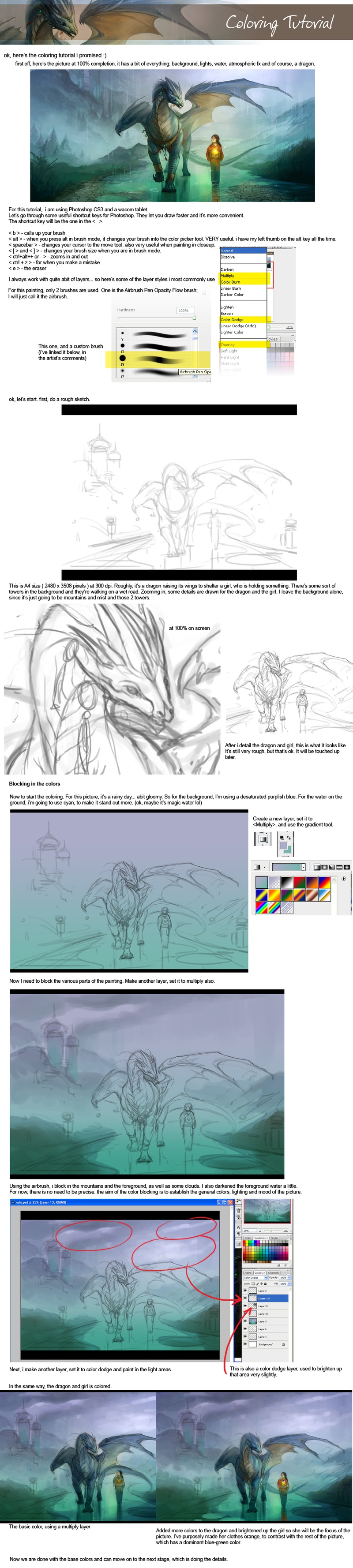 How To Draw Anime Anime Dragon And A Little Girl Tutorial With Photoshop