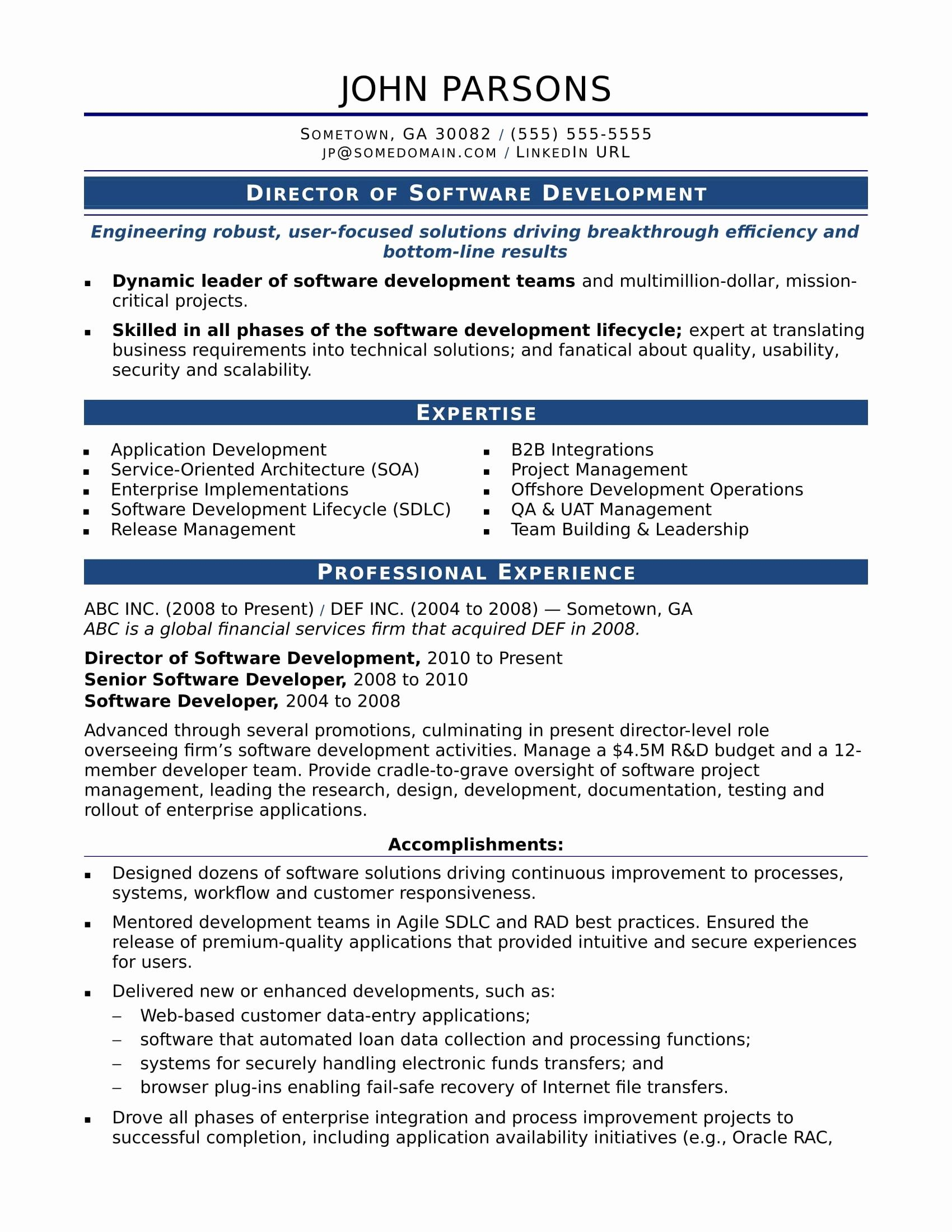 New Sample Resume for An Experienced It Developer in 2020