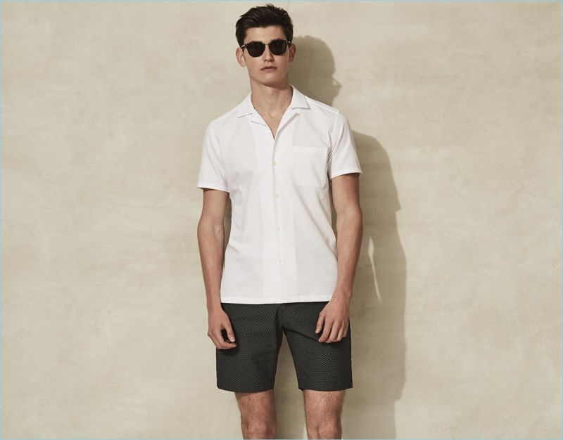 450c9b5a Making a case for monochromatic style, Reiss pairs its white Cuban-collar  shirt with a pair of jacquard weave shorts.