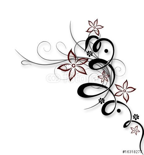 vector blume ranke bl ten filigran floral pinni tattoo vorlagen tattoo ideen und. Black Bedroom Furniture Sets. Home Design Ideas
