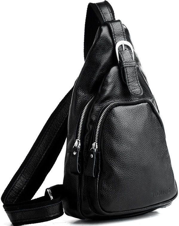 Mens backpack unisex travel bag Sling shoulder bag black brown genuine leather #Tiding #MessengerShoulderBag