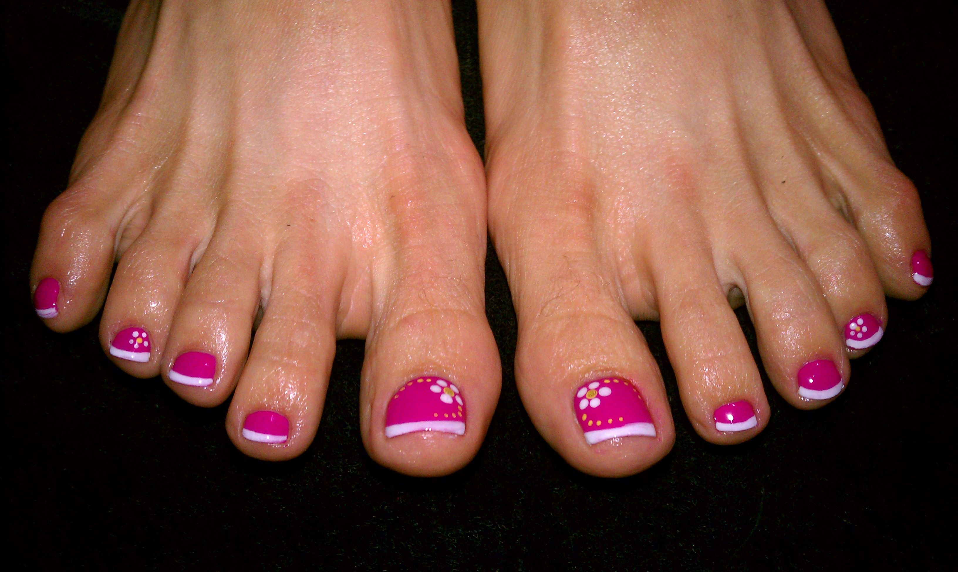 pedicure with pink base and white french tip and flowers ...