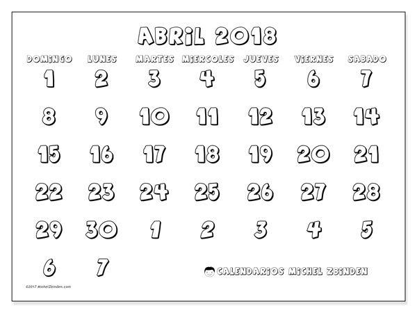 Calendario para imprimir abril 2018 - Hilarius   bedroom   Pinterest ...