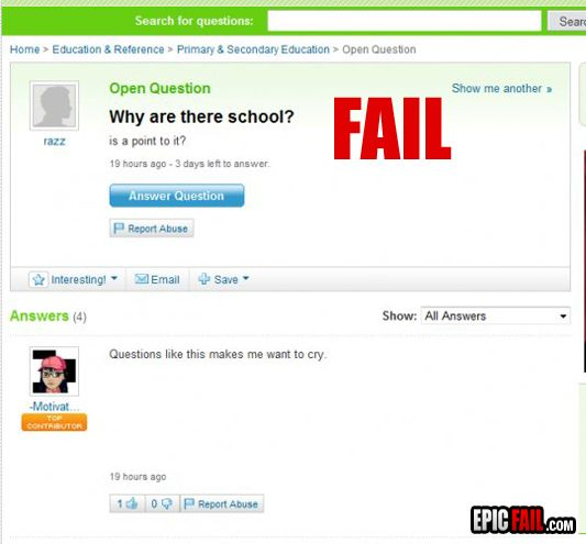 For That Very Reason Yahoo Answers Fail This Or That Questions Funny Comments