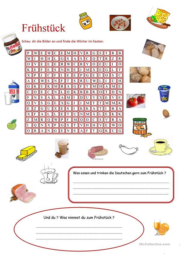 Frühstücken | Essen und Trinken, Lebensmittel - DAF Arbeitsblätter ...