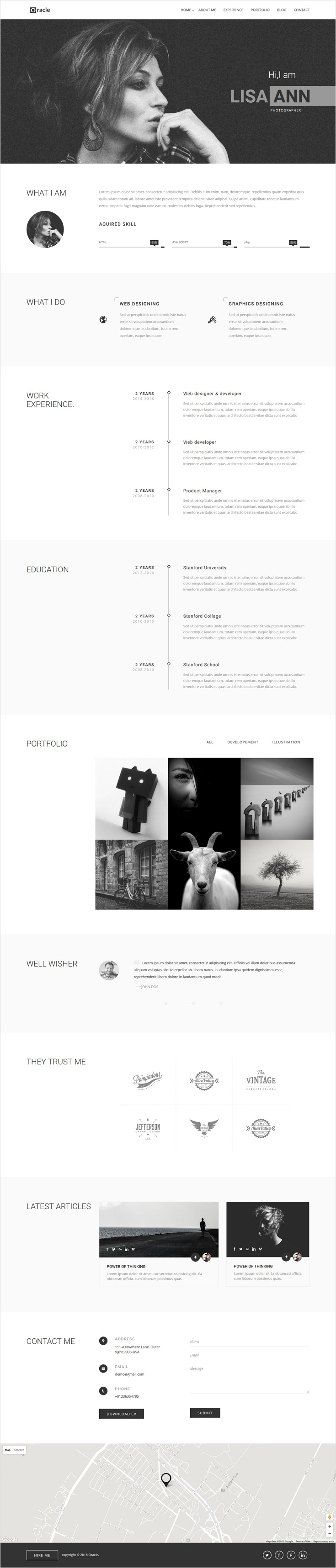 Portfolio For Resume Oracle Cv Resume Personal Template  Pinterest  Personal Portfolio .