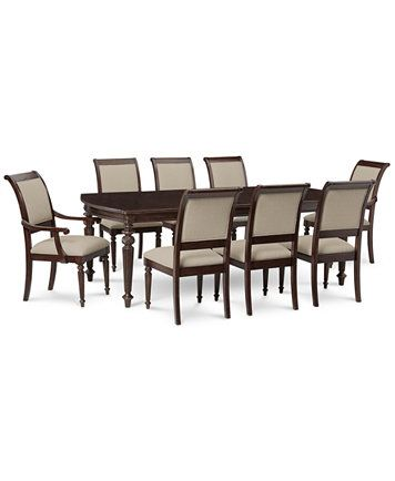 Syrah Dining Furniture Set 9Pcset Table 6 Side Chairs & 2 Prepossessing 2 Piece Dining Room Set Inspiration