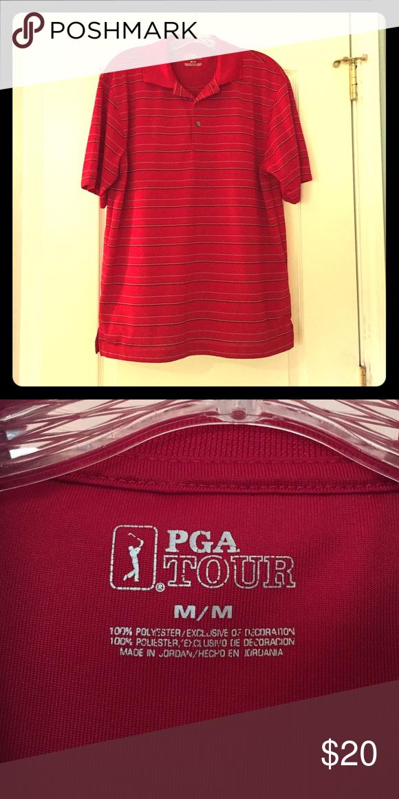 PGA Tour Polo PGA Tour polo with black and white stripes. In excellent condition! PGA Tour Shirts Polos