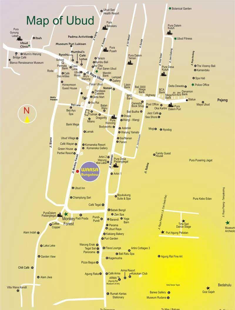 Map Of Ubud Peta Wisata Ubud Bali Liburan Dan Tempat