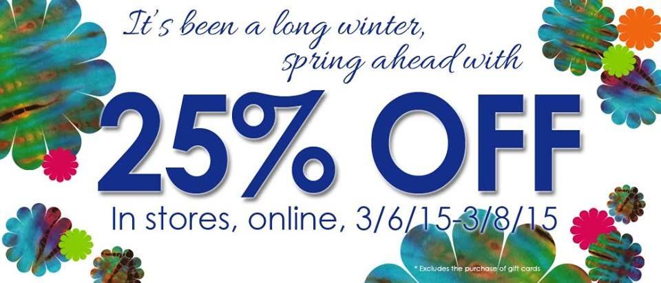 It's been a long winter; spring ahead with 25% off everything at Mexicali Blues from today 3/6 through 3/8!   Our February sale seriously ROCKED, but we had a few snow days at the stores and want to give them back to you with a bonus storewide sale! What better way to celebrate the lightening of the days and coming spring than by brightening up your wardrobe and home, in an ultra-affordable way! What groovy goodness would you love to get with a 25% discount?