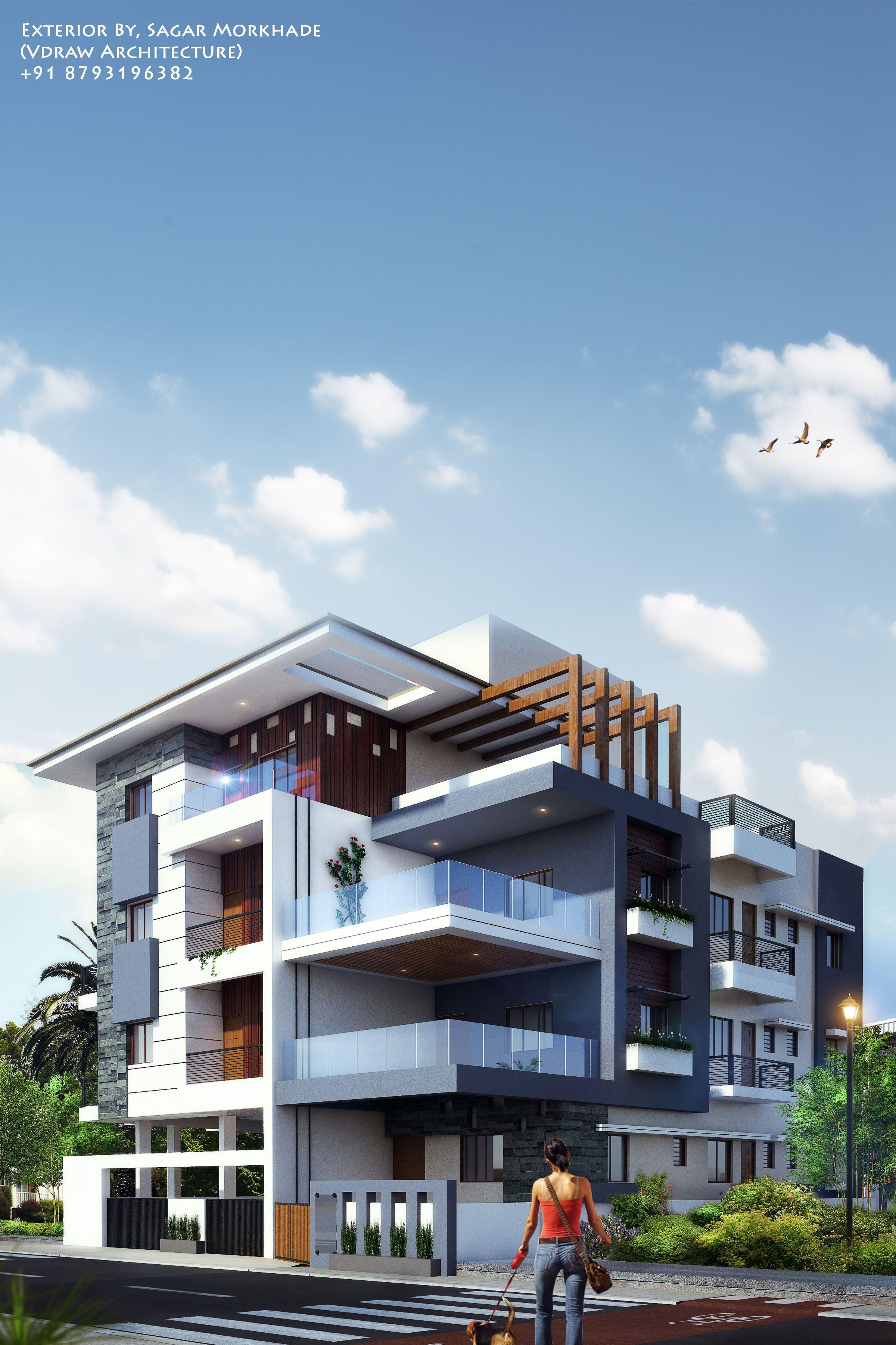 Modern House Bungalow Exterior By Ar Sagar Morkhade Vdraw Architecture 91 8793196382: Exterior By, Sagar Morkhade (Vdraw Architecture) +91 8793196382 (With Images)