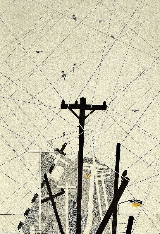 power lines telephone poles the illustration by simone asia, viapower lines telephone poles the illustration by simone asia, via behance
