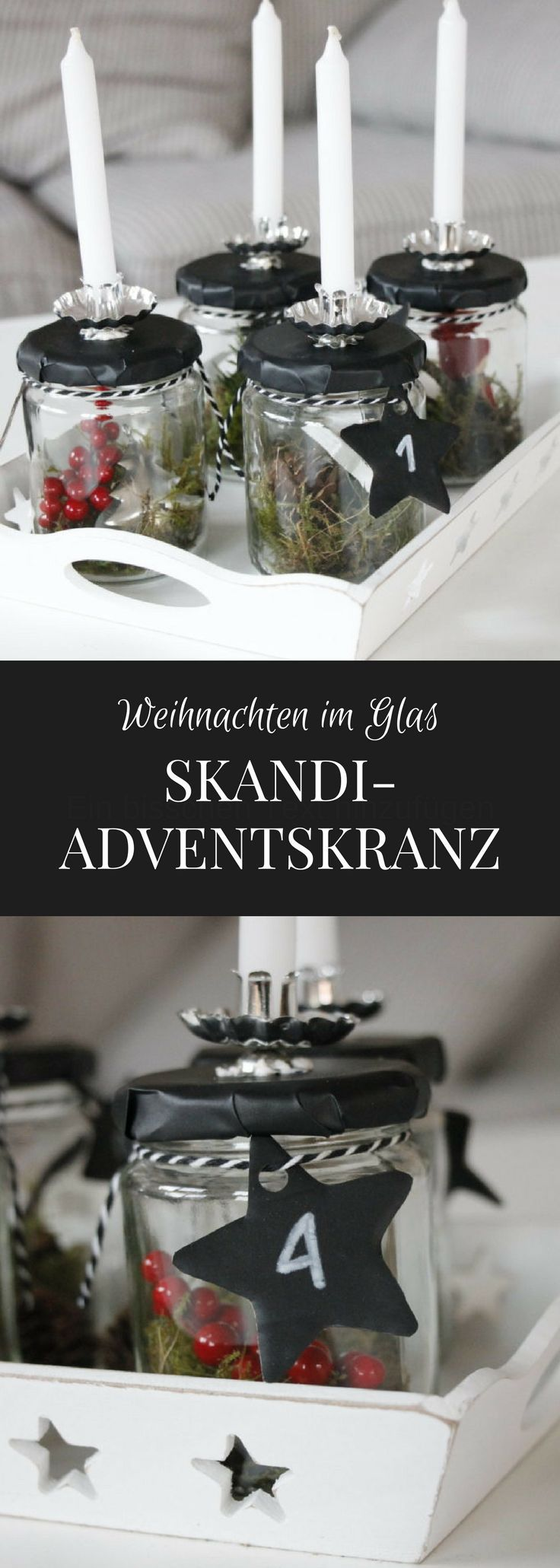 skandinavischer adventskranz im glas diy pinterest. Black Bedroom Furniture Sets. Home Design Ideas