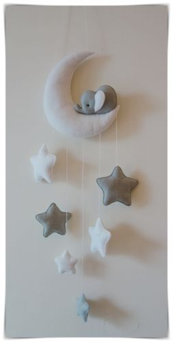 Sleepy Elephant Moon And Stars Nursery Decor Silver Grey White