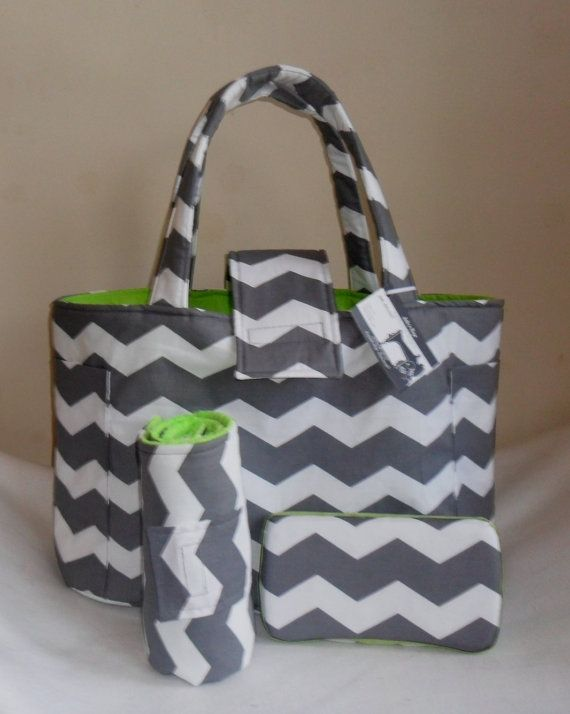 Large Gray Chevron Lime Green Diaper Bag Set With Changing Mat And Baby Wipes Case On Etsy 69 99