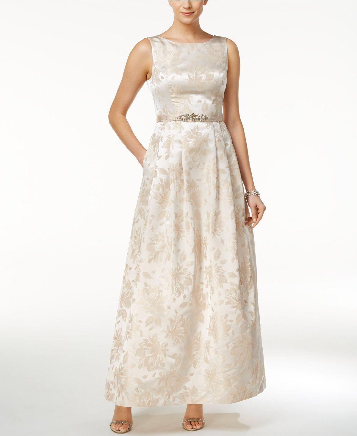 Jessica Howard Embellished Boat Neck Gown Dresses Women Macy S Casual Wedding Dress Dresses Macy Dresses