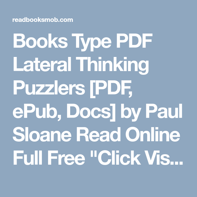Books Type Pdf Lateral Thinking Puzzlers Pdf Epub Docs By Paul