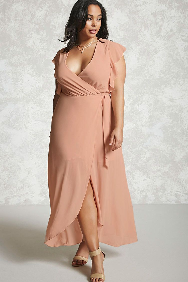Forever 21 A Woven Maxi Dress Featuring A Surplice Ne Plus Size Wedding Dresses With Sleeves Plus Size Wedding Guest Dresses Plus Size Wedding Guest Outfits [ 1125 x 750 Pixel ]