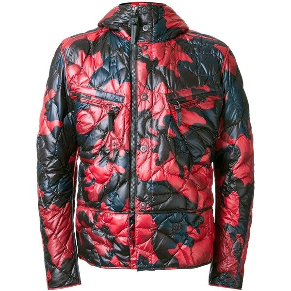 Kru camouflage hooded puffer jacket ($813) ❤ liked on Polyvore featuring men's fashion, men's clothing, men's outerwear, men's jackets, red and mens red jacket
