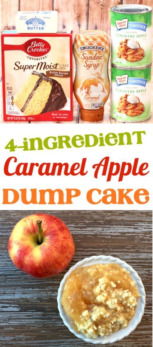 Apple Dump Cake mit Kuchenfüllung! Dieses Easy Caramel Apple Dump Cake Rezept ist ... #caramelapples