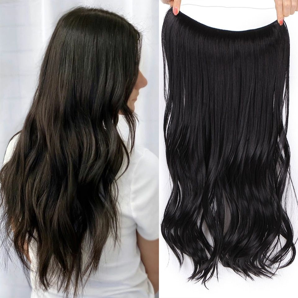 Black Hair Extensions Invisible Wire Halo Hair pieces Body