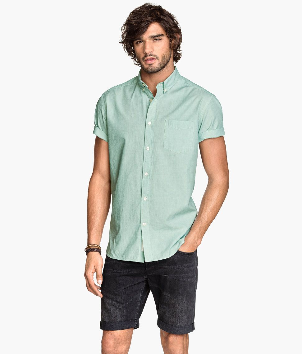 Mint green short sleeved shirt with chest pocket button for Short sleeved shirts for men