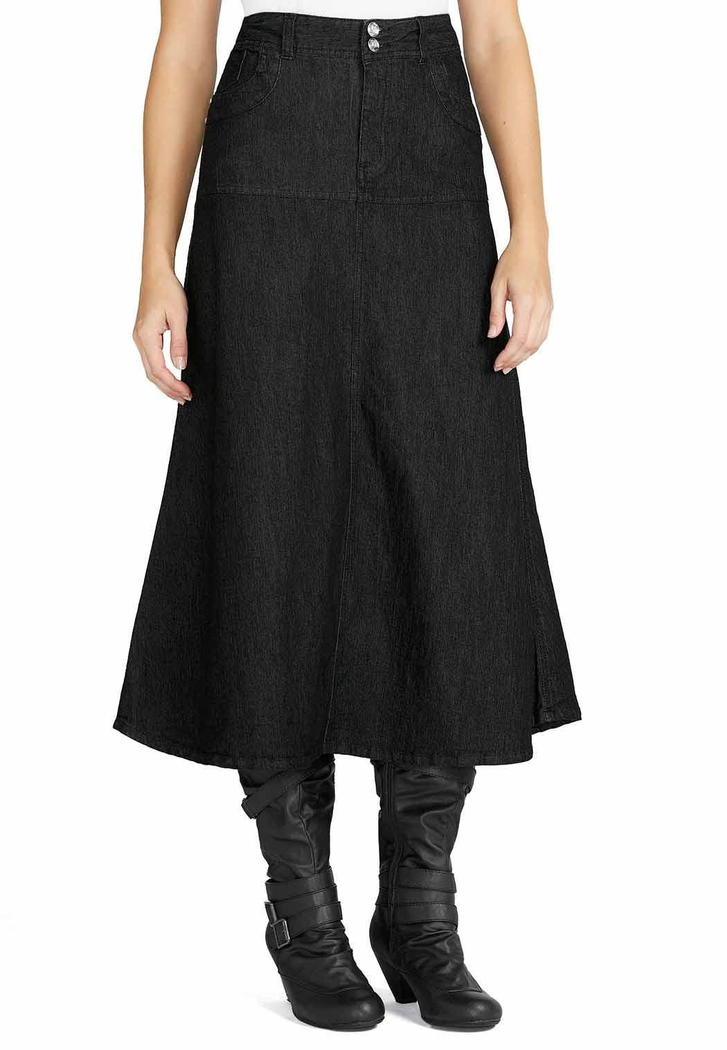 5a74ddbbcb5 Long Flare Dressy Denim Skirt Skirts Cato Fashions