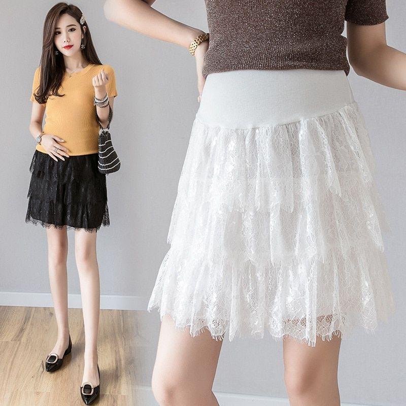 c6816d42c2709 Summer new pregnant women's skirt summer wear tide mom short lace skirt  anti-lighting stomach