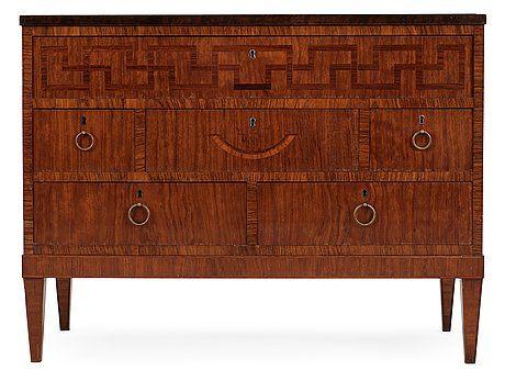 An Axel Einar Hjorth bureau, Nordiska Kompaniet, 1920's-30's. Veneered with palisander, stained birch and other woods, b.... - Spring Modern Auction, Stockholm 572 – Bukowskis