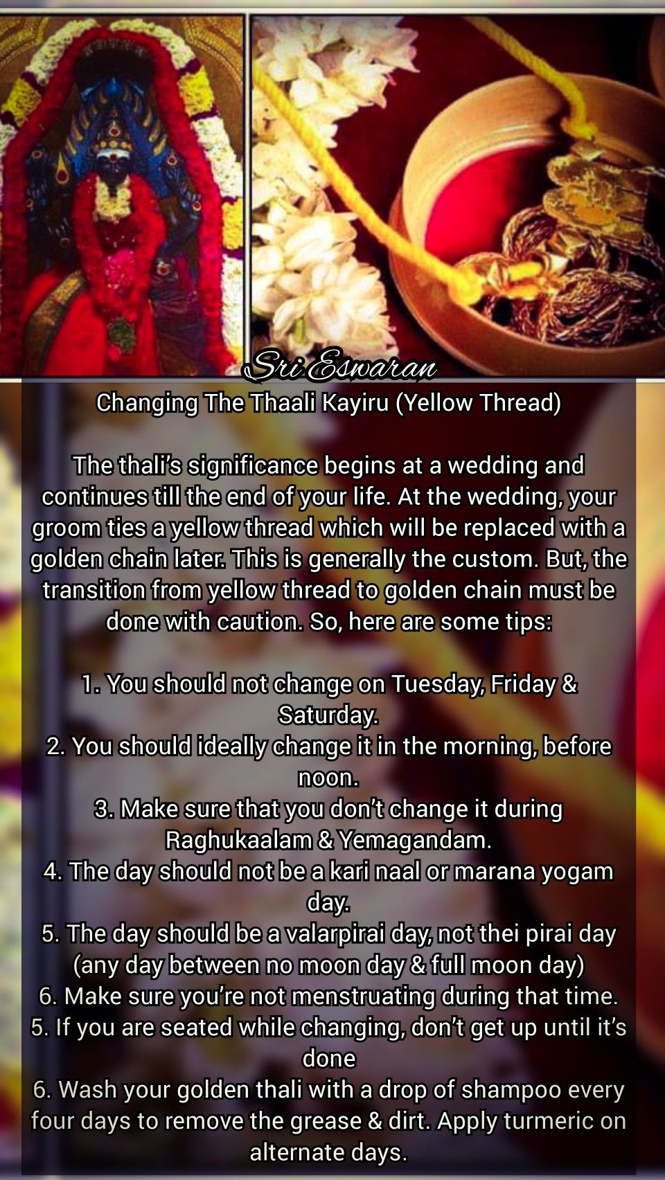 Changing The Thaali Kayiru Yellow Thread The Thali S