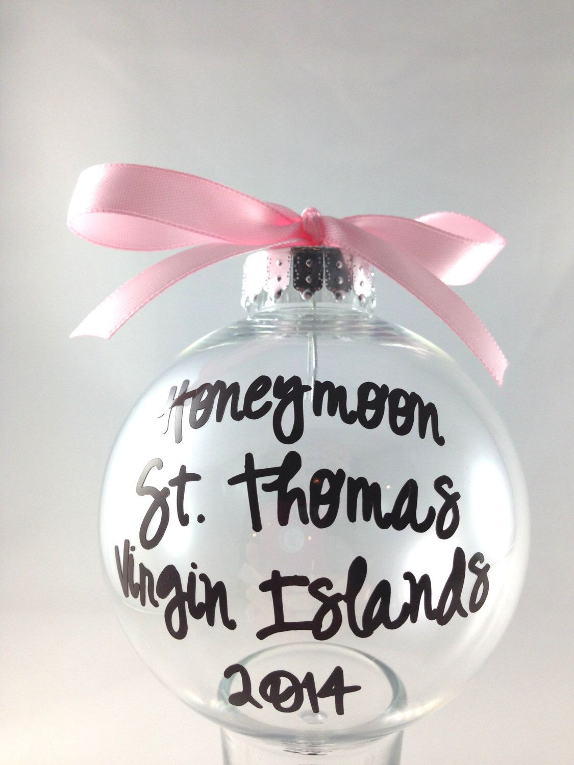 Christmas tree ornament, Personalized Custom PLASTIC Honeymoon ...
